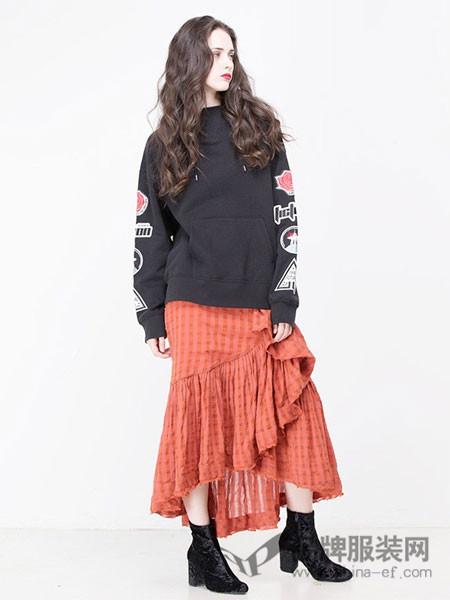 moussy女装2018春夏黑色百搭时尚韩版卫衣