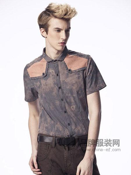 异形男装休闲个性短袖拼接衬衣
