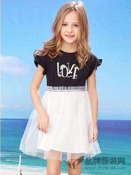 dishion的纯童装2018夏季黑色百搭时尚女童上衣