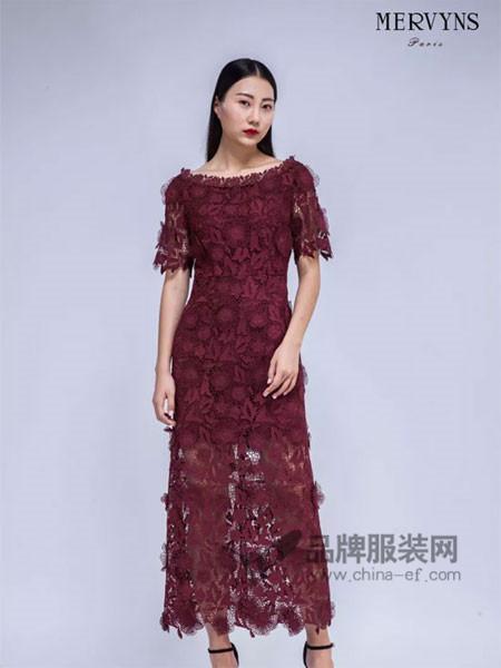Mervyns 摩雯思女装2018春时尚优雅气质蕾丝连衣裙
