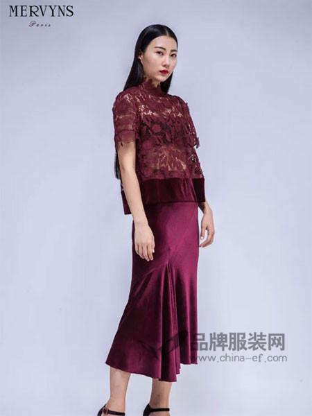 Mervyns 摩雯思女装2018春时尚蕾丝短袖拼接连衣裙
