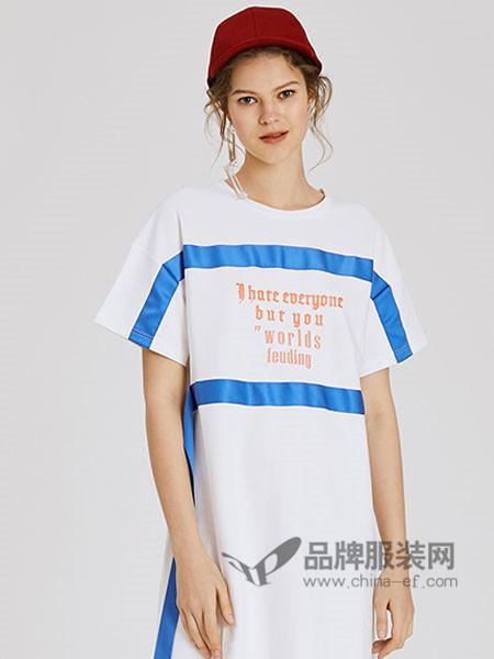 UR(URBAN REVIVO)女装2018春夏休闲个性撞色短袖连衣裙