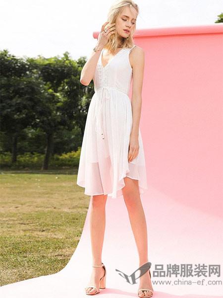 EVONA女装2018夏季无袖纯色V领时尚性感连衣裙