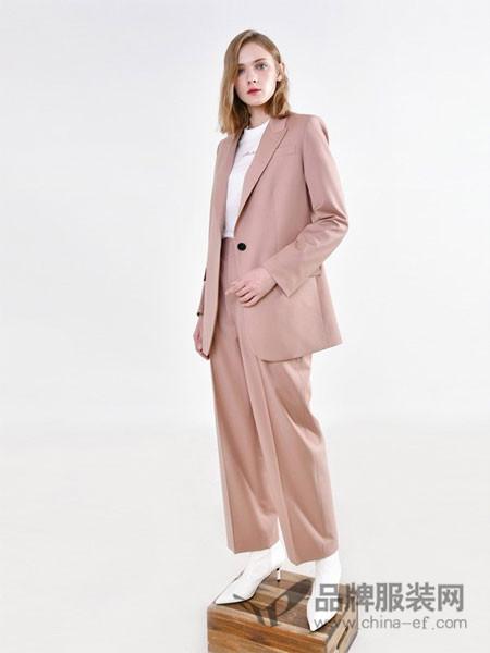 PINBLACK女装2018春夏粉色气质女士通勤西装