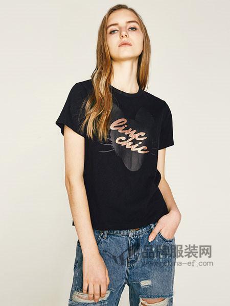 金羽杰女装2018春夏新品个性LINC猫印花半袖女短袖T恤