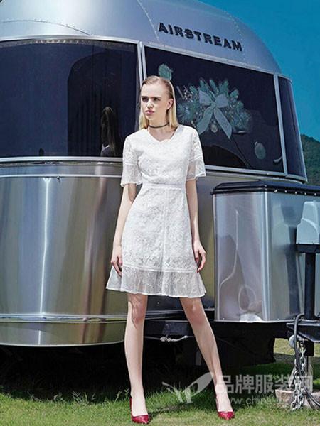 丹比奴女装2018夏季纯色收腰气质花边连衣短裙