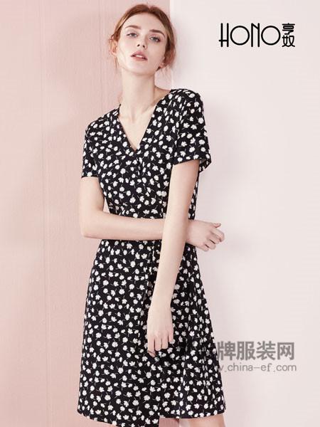 亨奴女装2018春夏欧式时尚优雅气质碎花雪纺连衣裙