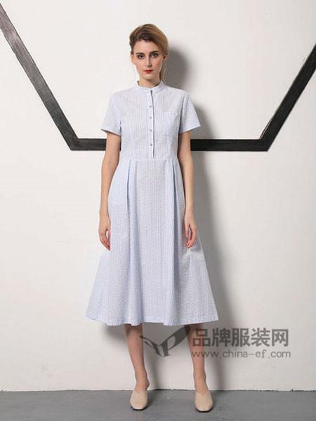 無索女装2018春夏时尚文艺立领开衫短袖连衣裙