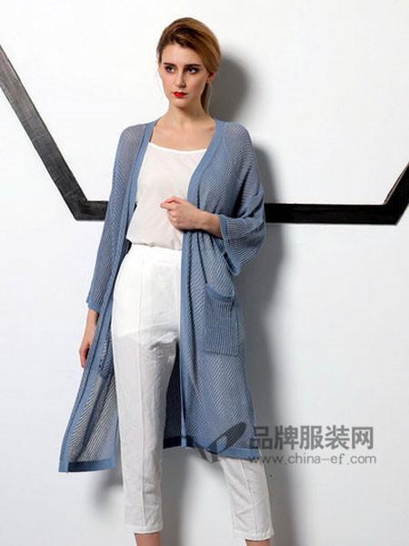 無索女装2018春夏欧式优雅气质针织中长外套