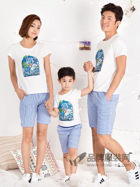 52017亲子情侣2018夏季休闲时尚清新短袖亲子套装