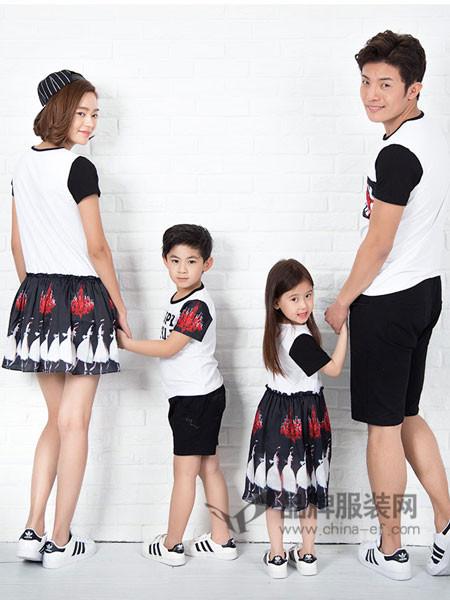 52017亲子情侣2018夏季时尚休闲印花撞色短袖T恤套装