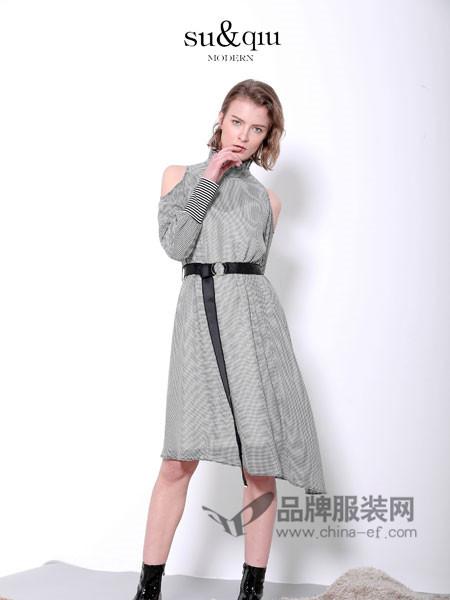 诉求女装2018春夏欧式时尚格子立领露肩系带连衣裙