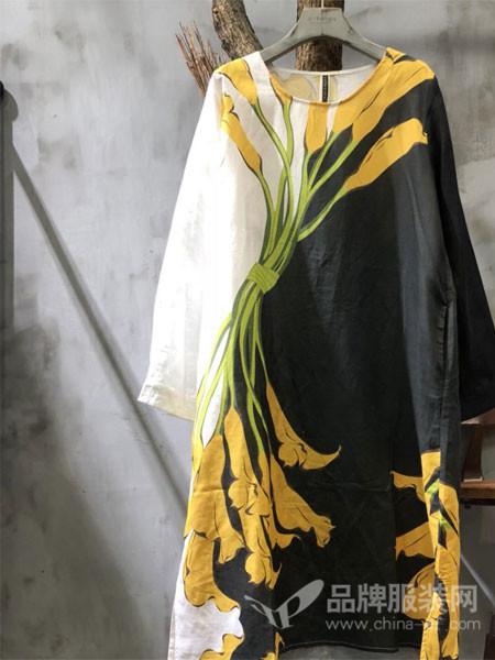 GAGA女装2018春夏麻料田园风森系印花宽松大码文艺范