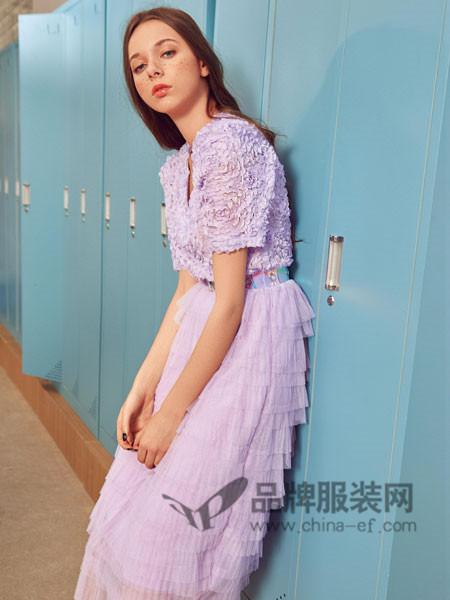 时尚自由点女装2018春夏气质优雅名媛网纱蕾丝拼接蓬蓬裙