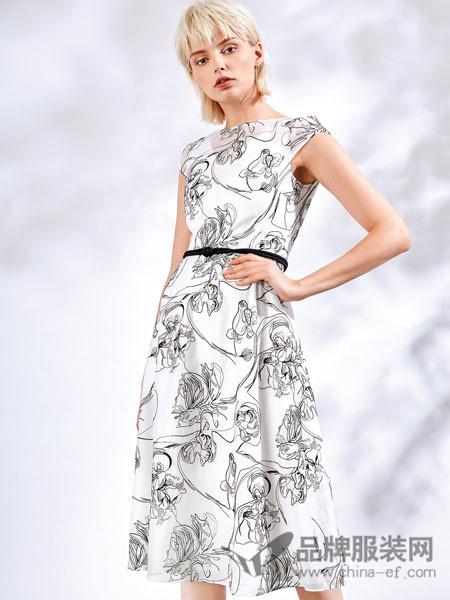 红凯贝尔精选女装2018夏季收腰气质连衣裙