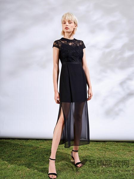 红凯贝尔精选女装2018夏季黑色时尚优雅女士连衣裙