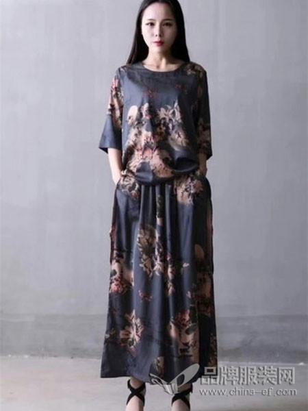 萨阁拉斯SAGELAS女装2018春夏复古印花雪纺连衣裙