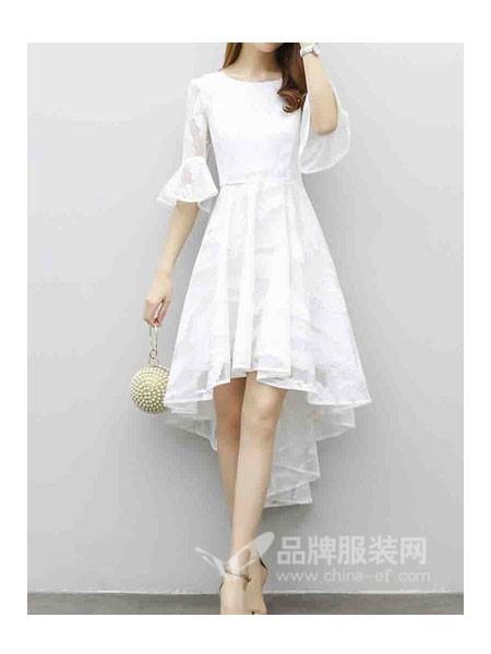 JAMkaka女装2018春夏时尚优雅气质喇叭袖不对称边连衣裙