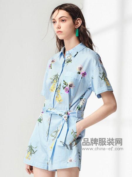 布莎卡女装2018夏季时尚清新绣花开衫连体裤