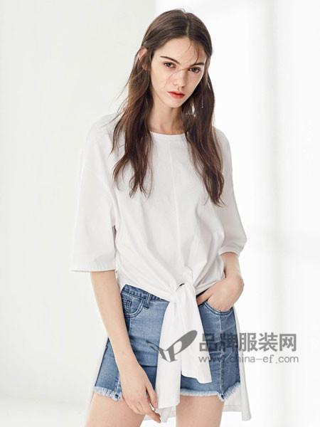 布莎卡女装2018夏季时尚简约百搭T恤