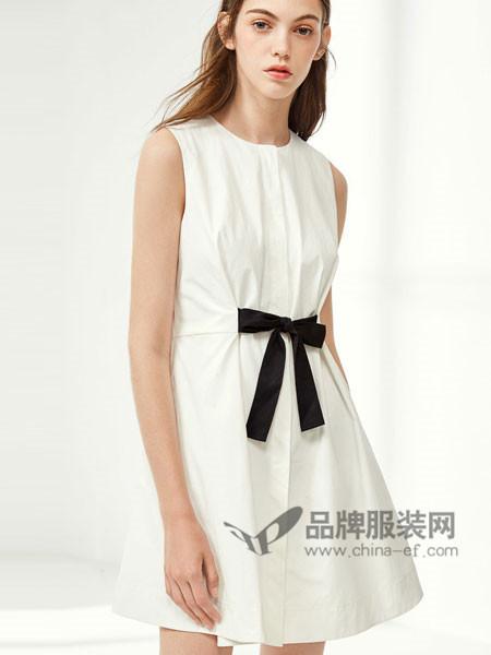 布莎卡女装2018夏季时尚简约系带无袖连衣裙