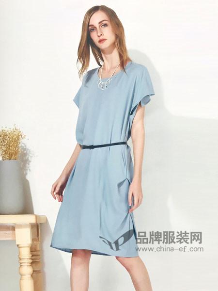 你即永恒女装2018夏季时尚简约系带短袖连衣裙