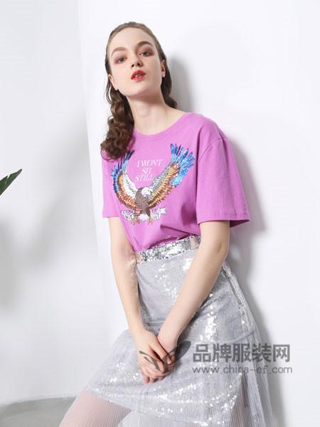 欧玥女装2018夏季时尚优雅印花短袖T恤