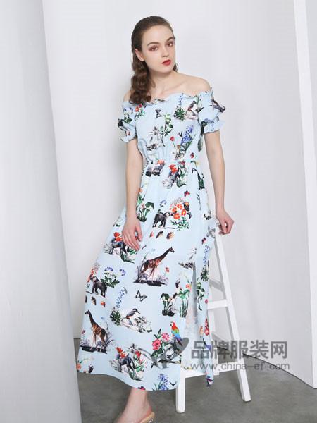 欧玥女装2018夏季时尚优雅气质碎花一字领连衣裙