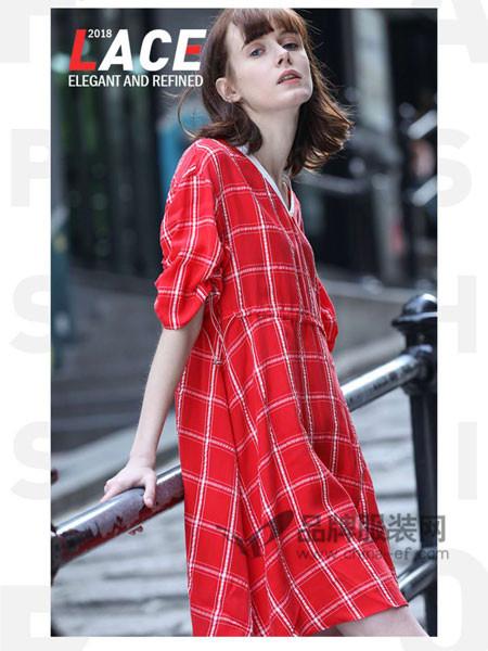 玛依莲纳女装2018夏季时尚休闲格子短袖连衣裙