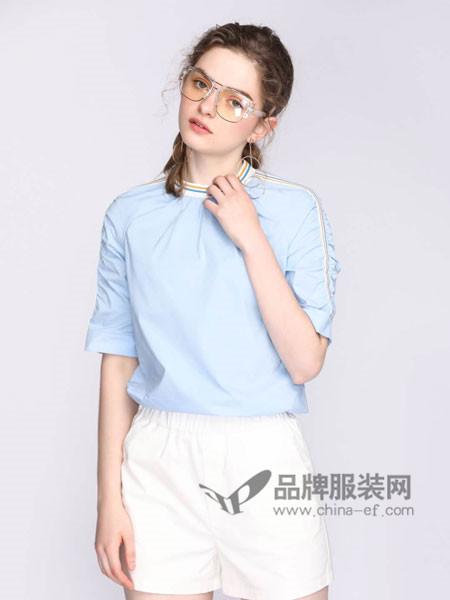 玛依莲纳女装2018夏季时尚简约百搭短袖T恤