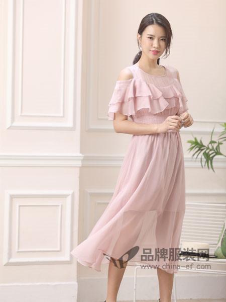 伽戈女装2018夏季时尚简约荷叶连背心式连衣裙