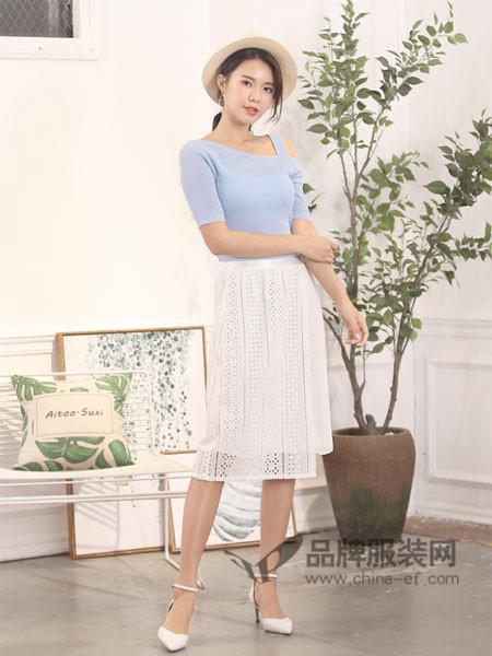 伽戈女装2018夏季时尚优雅气质镂空半身裙