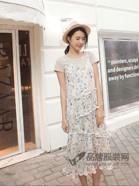 伽戈女装2018夏季时尚优雅气质两件套雪纺碎花吊带裙