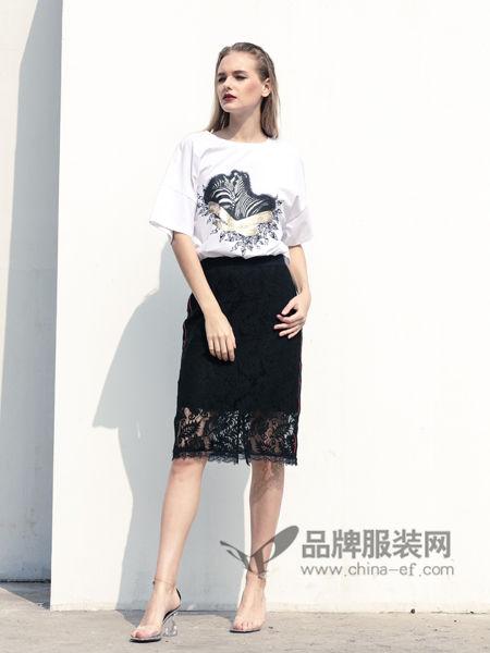 衣讯女装2018夏季时尚优雅气质印花短T恤
