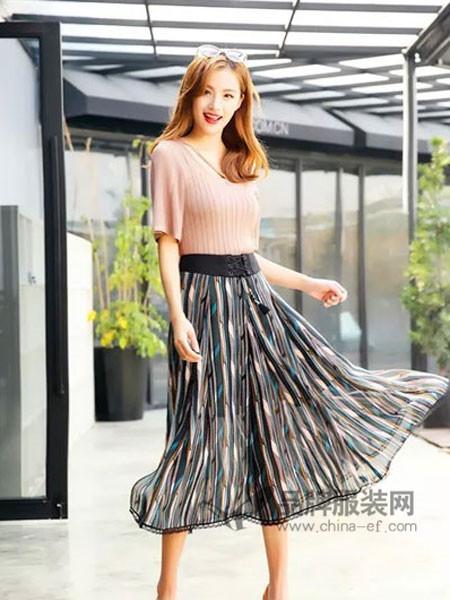 若岚菲女装2018春夏时尚针织粉色短袖上衣