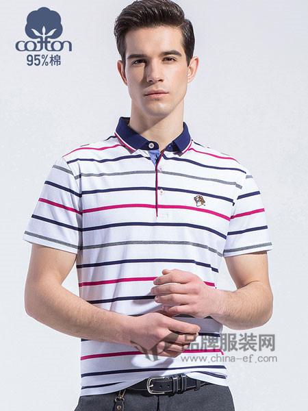 罗蒙ROMON男装2018春夏翻领条纹POLO衫休闲T恤