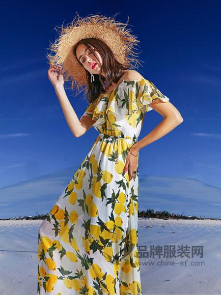 卡布依女装2018夏季优雅气质碎花一字领连衣裙