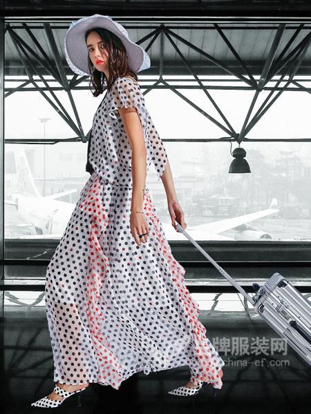 卡布依女装2018夏季欧式雪纺波点长款连衣裙