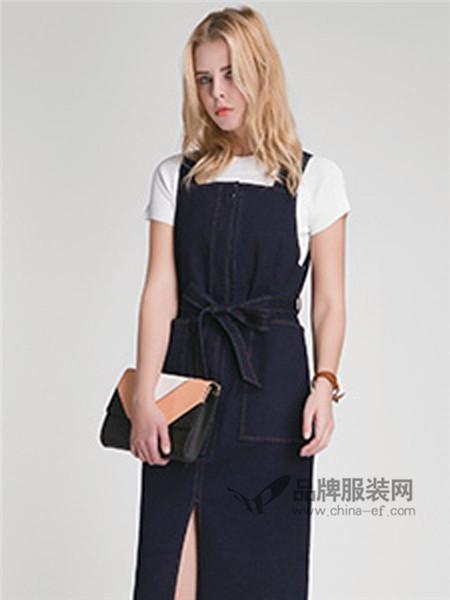西纳维思女装2018春夏时尚休闲背带开叉连衣裙