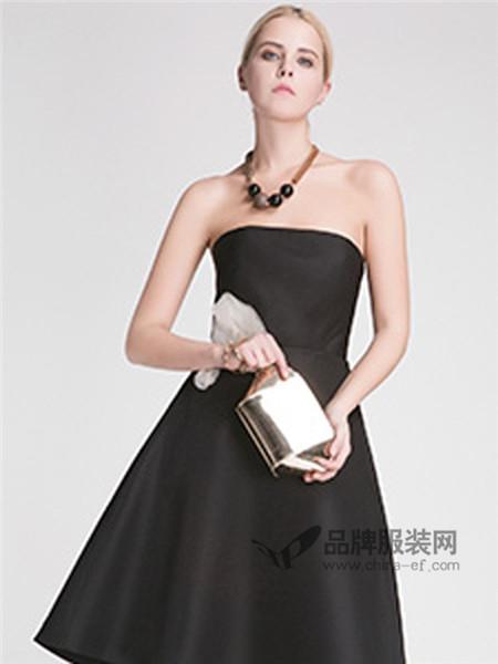 西纳维思女装2018春夏时尚抹胸式黑色小礼服