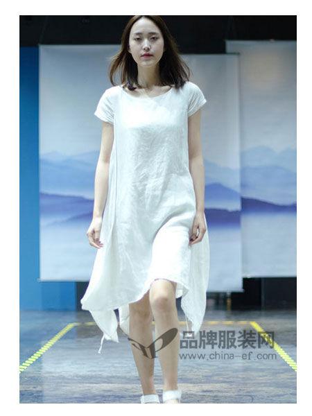 SIMTLY纯粹女装2018春夏时尚不对称边棉麻连衣裙