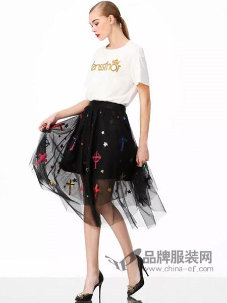 维斯提诺女装2018夏季时尚休闲百搭字母T恤