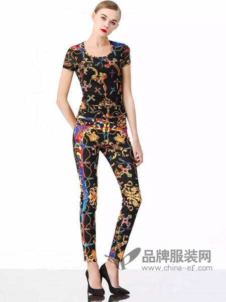 维斯提诺女装2018夏季时尚个性印花短袖套装