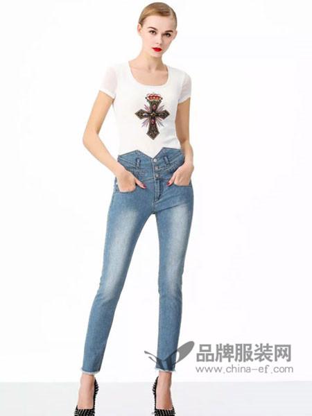 维斯提诺女装2018夏季时尚休闲十字架短袖T恤