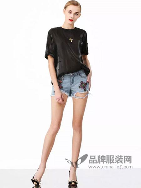 维斯提诺女装2018夏季时尚简约休闲T恤