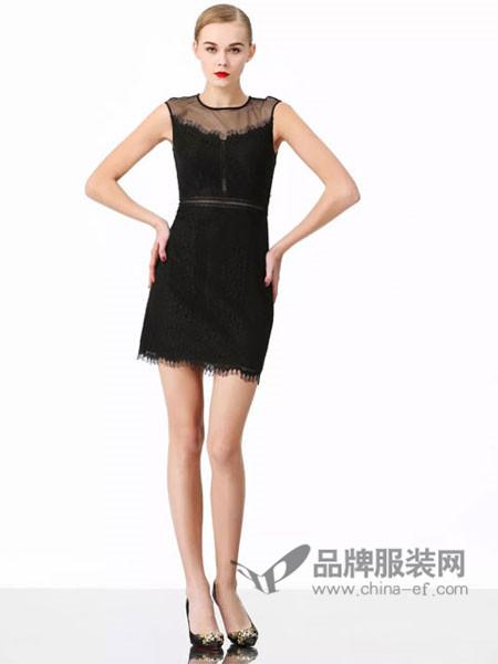维斯提诺女装2018夏季时尚优雅气质透视领背心裙
