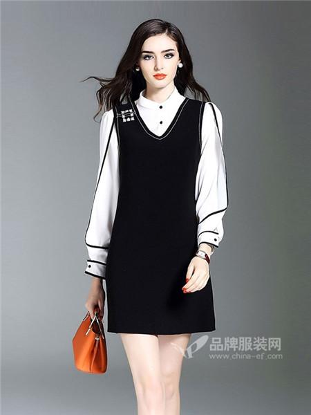 慕兰茜女装2018春时尚修身气质衬衫背心裙子套装