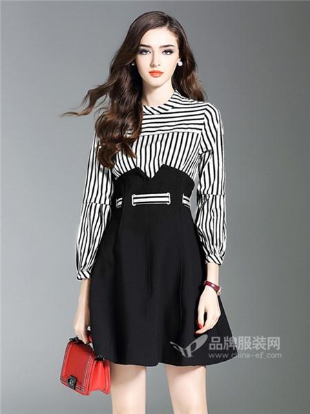 慕兰茜女装2018春长袖拼接小黑a字裙子条纹假两件修身显瘦连衣裙
