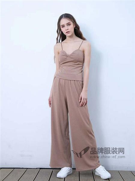 欧海一生女装2018春夏时尚纯色优点吊带针织套装