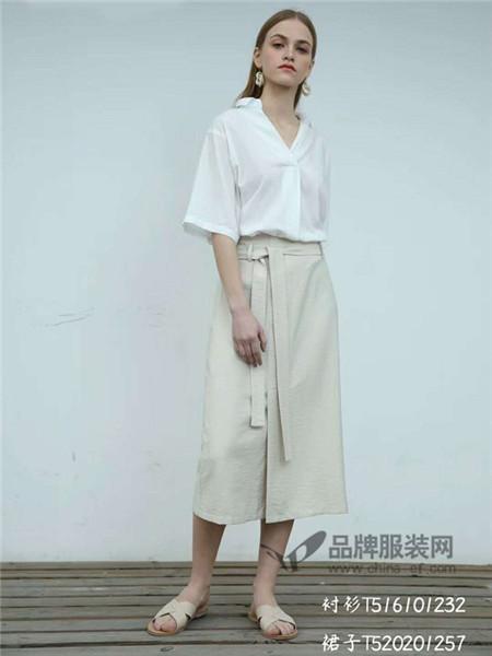 欧海一生女装2018春夏时尚系带A字开衫裙
